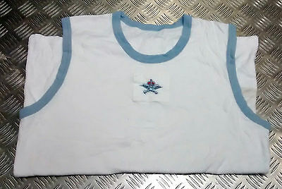 Genuine Royal Air Force RAF PTI White Vest With Blue Trim - With & Without Badge