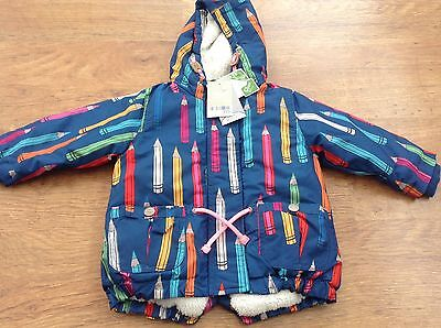 Next Girls Autumn Winter Hooded Colourful Coat 9-12Mths Nwt Rrp £25.00