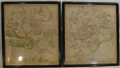 "Pr. Vintage framed Star Charts. 1835 engraved & hand colored. 15""x13""."