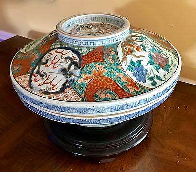 "Superb RARE Large 12""+ Meiji Antique Japanese Porcelain Imari Lidded Rice Bowl"