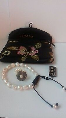 Honora White Baroque Pearl Leather Wax Friendship Bracelet&flower Pearl Ring
