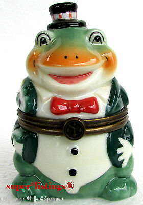 Dept. 56 Hinged Trinket Box Frog in Tuxedo New Keepsake Box