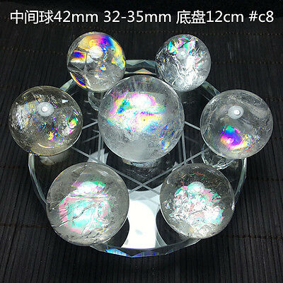 Seven Star Array Natural STAR rainbow Quartz Crystal Ball with Plate  #8