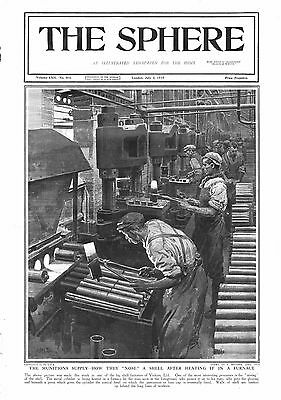 1915 Antique Print - Ww1- Munitions Supply-Nosing A Shell