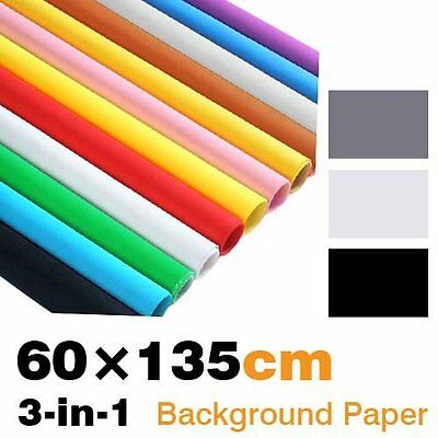 23inch x 53inch Seamless Background Paper 3 in 1 with Black, White and Grey
