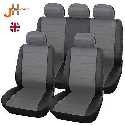 Renault Clio Hatchaback 01-08 Heavyduty Black & Grey Leather Look Seat Covers