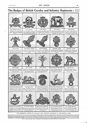 1915 Antique Print - Ww1- The Badges Of British Cavalry And Infantry Regiments
