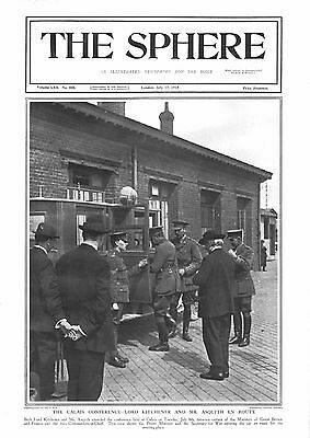1915 Antique Print - Ww1- Calais Conference-Kitchener And Asquith En Route