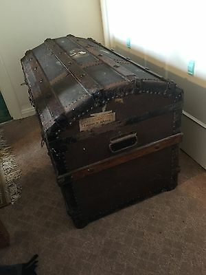 Victorian Dome Top Steamer Trunk/ Blanket Chest