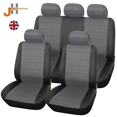 Volvo S80 (06-On) Heavyduty Black & Grey Leather Look Seat Covers