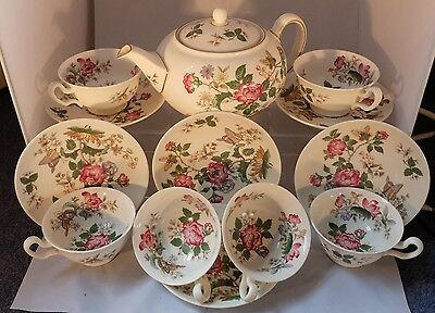 Vintage Wedgwood Charnwood Pattern Teapot & 6 cups & Saucers Roses & Butterflies