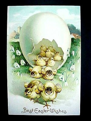 Early 1900 BEST EASTER WISHES EMBOSSED POSTCARD International Art Pub Co Germany