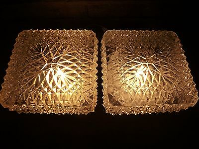 A PAIR OF VINTAGE FRENCH   ICE GLASS CEILING/WALL LIGHTS circa 1970s