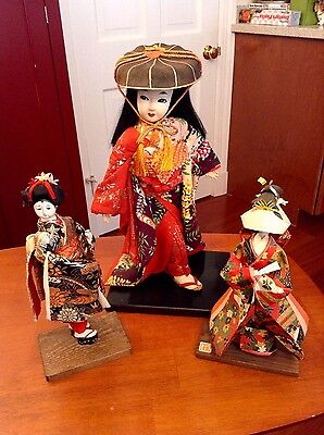 Vintage Japanese Doll Lot of 3. Gofun Oyster Shell Paste, Fabric and Washi Paper