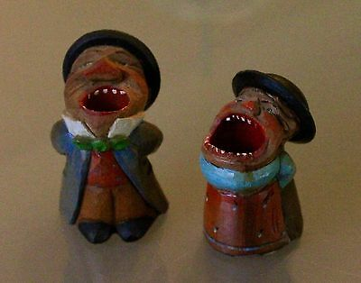 """(2) Vintage Hand Carved & Painted Anri """"Big Mouth Couple"""" Toothpick Holders"""