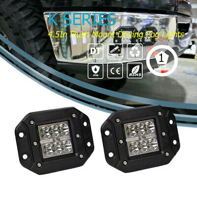 Pair 4''Inch 36W Cree Spot Led Work Light  Flush Mount offroad truck boat atv