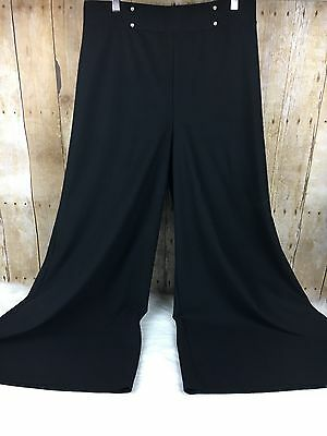 Vintage 70s Beeline Fashions High Waisted Bell Bottoms Black Pants Stretch Sz 13