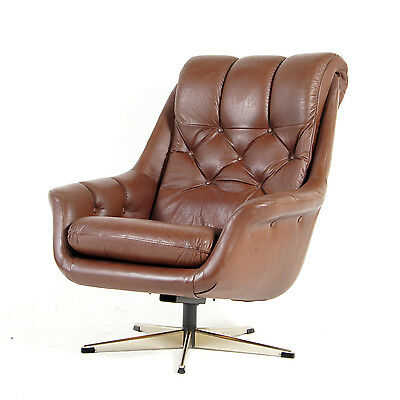 Retro Vintage Danish Leather Chrome Swivel Lounge Armchair Egg Chair 50s 60s 70s