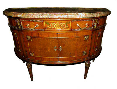10009-801P: Vintage French Louis XVI Demilune Marble Top Console or Hall Chest