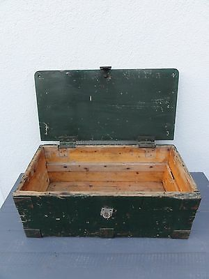 Antique Vintage Small Dovetail Wooden Chest Box Trunk Storage Crafts Tools