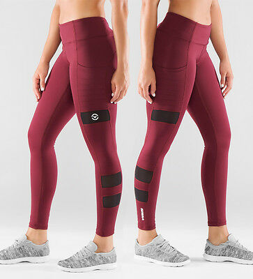 Virus Women's Stay Cool ZEPU Mesh Compression Pant Maroon. Fitness Gym Crossfit