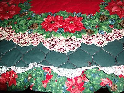 Christmas Tree Skirt Quilted Poinsettia Lace Trimmed Handmade 58""
