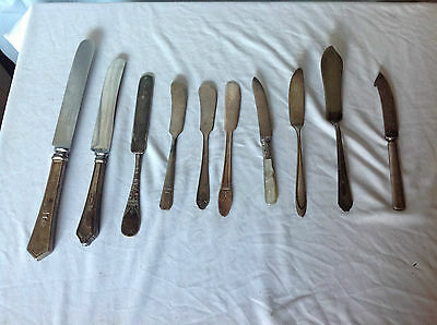 Mixed Lot of 10 Silverplate & Stainless Knives