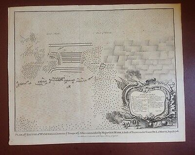 C1750 Map - 1708 Plan Of The Battle Of Wynendale  20 X 16 Inches