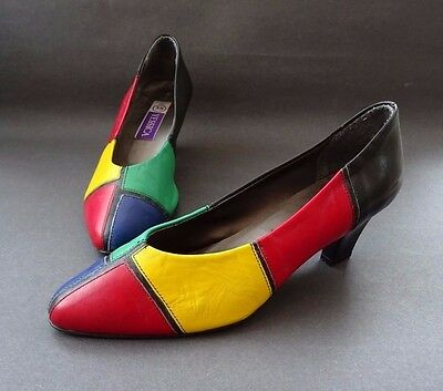 Vintage 80s Court Shoes Multi Colour Mondrian Real Leather by Yessica Size 6 39