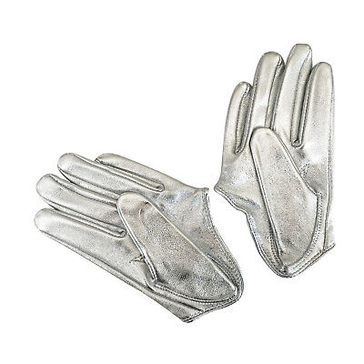 Ladies/Womens Leather Driving Gloves - Silver