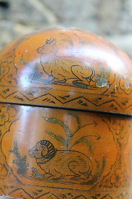 Vintage Oriental Wooden Jewellery Box With Engraved and Hand Painted Animals