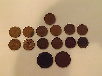 vintage Canadian large & small cents