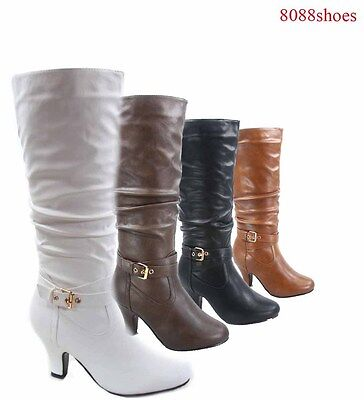 Women's Buckle Strap Slouch Kitten Heel Mid-Calf Knee High Boots Size 5 - 10 NEW