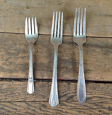 Mixed Lot of 3 Silver-Plate Forks, Rogers & Vernon