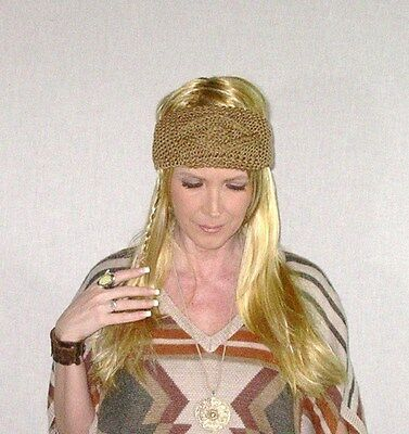 Brown Cable Knit Boho Earwarmer Thick Winter Headband Knitted Tan Diamond Cable