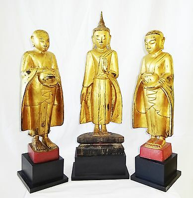 3x 19C Burmese Shan State Wooden Carved Gilt Buddha & Attendant Monks (TDG)