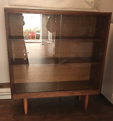 Vintage Retro Danish Style Bookcase display cabinet with glass sliding doors