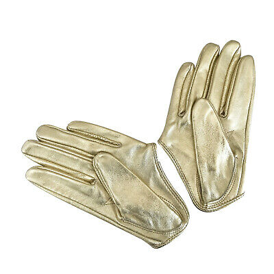 Ladies/Womens Leather Driving Gloves - Gold