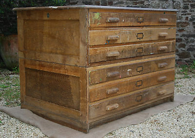 Antique/Vintage Architects Bank of Six Drawers -  Solid Oak - Great Condition