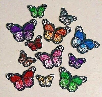 """2 Sizes - 12 Colors BUTTERFLY iron on patches 2-3/4"""" x 2"""" or 1-3/4"""" x 1-1/8"""""""