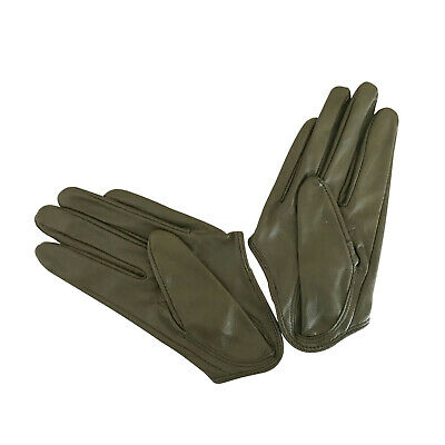 Ladies/Womens Leather Driving Gloves - Olive Green