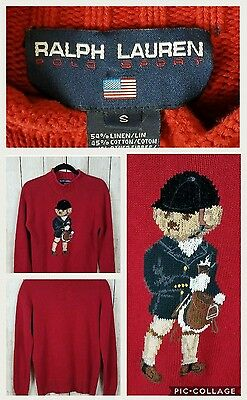 Vintage Ralph Lauren polo sport womens sweater size small red bear long sleeve