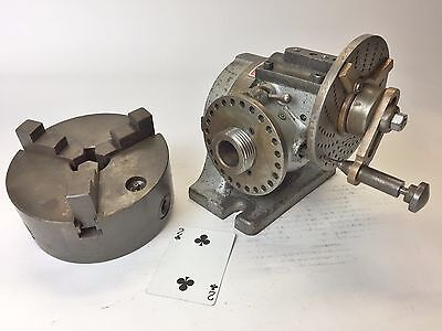 """ELLIS Inclining / Dividing head with 6"""" Skinner chuck #9 B&S Taper USA"""