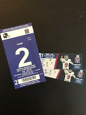 New York Giants vs. New York Jets-- August 26, 2017 2 tickets WITH PARKING PASS