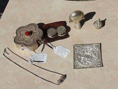Misc Silver Items Box, Necklace, Earrings