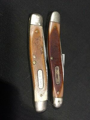 Vintage Knives Folding Pocket Knife LOT of 2 SCHRADE OLD TIMER USA 770T 810T