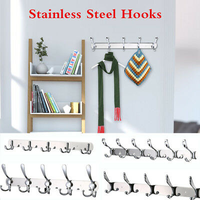 Stainless Steel Wall-Mounted Hook Coat Hat Clothes Holder Rack For Bed/Bathroom
