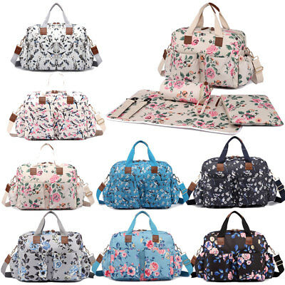 Floral Birds Mummy Changing Bag Maternity Handbag Nappy Diaper Wipe Clean