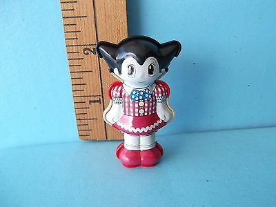 """Astro Boy Uran 2""""in Tin Toy Meiji Cute Robot Girl in Plaid Dress and Red Shoes!"""