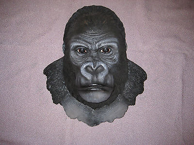 African Silverback Primate Gorilla Ape Head Bust Hanging Wall Mount Decor Statue